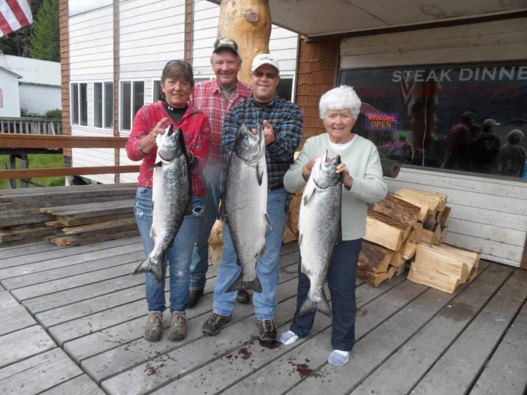 Joan -- Bob and Irene with Alaska Fishing Guide Larry Jarrett
